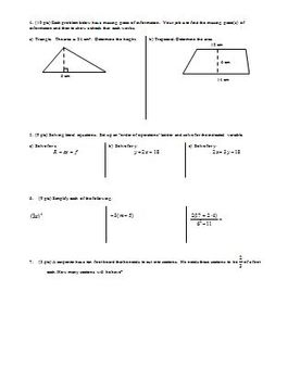 Algebra 1 Quiz Geometry Concepts Spring 2009; two versions; two pages each