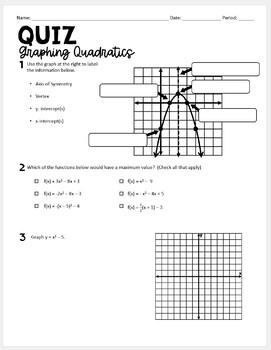 Algebra 1 Quiz (Graphing Quadratics)