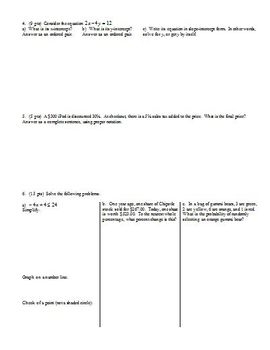 Algebra 1 Quiz Graphing and Inequalities Fall 2013; two versions; 3 pages each