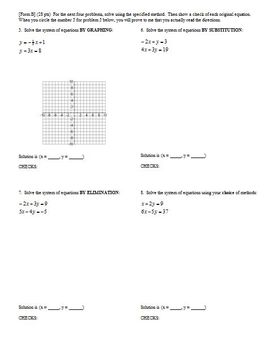 Algebra 1 Quiz: Inequalities and Systems Spring 2008, two versions, 2 pages ea.