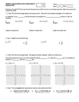 Algebra 1 Quiz: Inequalities and Systems Spring 2008, two