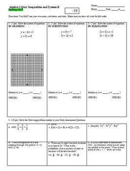Algebra 1 Quiz: Inequalities and Systems Spring 2010, two versions, one page ea.