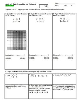 Algebra 1 Quiz: Inequalities and Systems Spring 2010, two