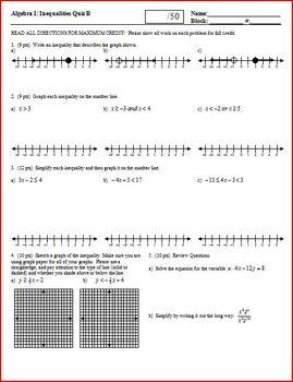 Algebra 1 Quiz: Inequalities; four versions (Editable)