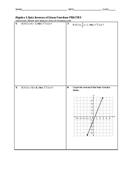 Algebra 1 Quiz - Inverses of Linear Functions BUNDLE