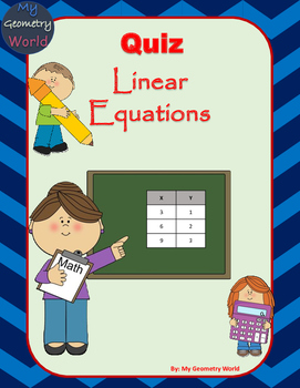 Algebra 1 Quiz: Linear Equations