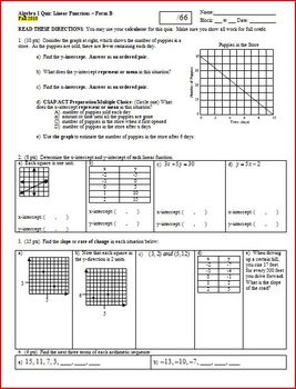 Algebra 1 Quiz: Linear Functions; 2 versions; 2 pages each (Editable)