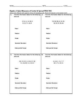 Algebra 1 Quiz - Measures of Center & Spread BUNDLE