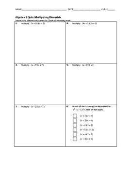 Algebra 1 Quiz - Multiplying Binomials BUNDLE