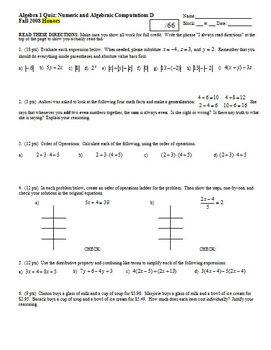 Algebra 1 Quiz: Numeric and Algebraic Computations; 4 versions; Fall 2008