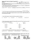 Algebra 1 Quiz: Numeric and Algebraic Computations; 4 versions; Fall 2008