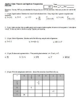 Algebra 1 Quiz Numeric and Algebraic Computations Fall 2008