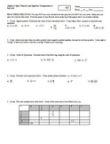 Algebra 1 Quiz: Numeric and Algebraic Computations Fall 2008; 4 versions