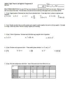 Algebra 1 Quiz: Numeric and Algebraic Computations Fall 2008; 4 versions