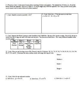 Algebra 1 Quiz: Polynomials Spring 2009; 2 versions; 2 pages each (Editable)