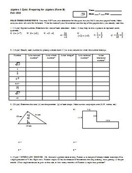 Algebra 1 Quiz Preparing for Algebra Fall 2010 (Editable)