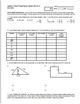 Algebra 1 Quiz Preparing for Algebra Fall 2010