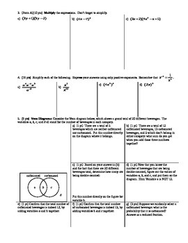 Algebra 1 Quiz Probability and Factoring Spring 2014; two versions; 3 pages each