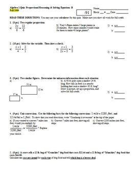 Algebra 1 Quiz: Proportional Reasoning & Solving Equations Fall 2009; 4 versions