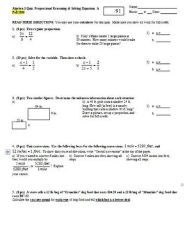 Algebra 1 Quiz: Proportional Reasoning & Solving Equations