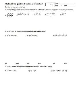 Algebra 1 Quiz Quadratic Equations and Formulas Spring 2009; 2 versions