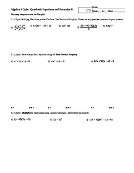 Algebra 1 Quiz Quadratic Equations and Formulas; 2 versions; 2 pages each