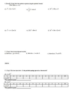 Algebra 1 Quiz Quadratic Equations and Formulas Spring 2010; 2 versions-Editable