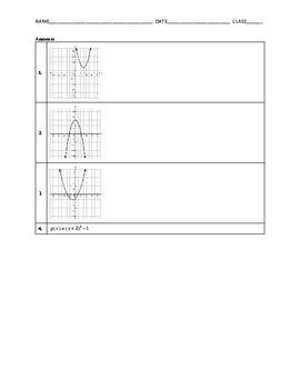 Algebra 1 Quiz - Quadratic Functions in Vertex Form BUNDLE