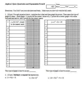 Algebra 1 Quiz: Quadratics and Exponentials; 2 versions