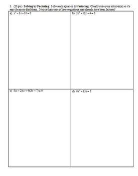 Algebra 1 Quiz: Quadratics and Polynomials Spring 2013; 2 versions (Editable)