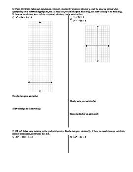 Algebra 1 Quiz Radicals and Quadratics Spring 2014; 2 versions; 2 pages each