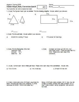 Algebra 1 Quiz Similar Shapes Rates Conversions Quiz Spring 2008 2 versions