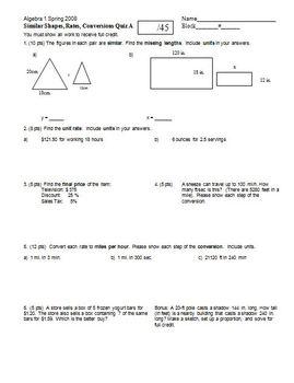 Algebra 1 Quiz Similar Shapes Rates Conversions Quiz Sprin