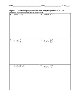 Algebra 1 Quiz - Simplifying Expressions with Integer Exponents BUNDLE