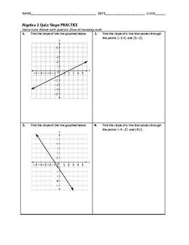 Algebra 1 Quiz - Slope BUNDLE