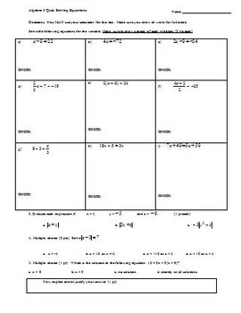 Algebra 1 Quiz Solving Equations (Editable)
