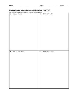 Algebra 1 Quiz - Solving Exponential Equations BUNDLE