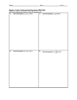 Algebra 1 Quiz - Solving Literal Equations BUNDLE