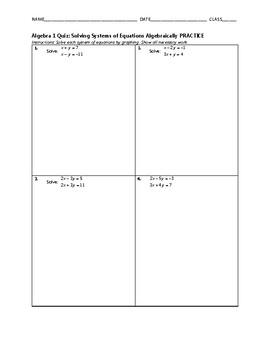 Algebra 1 Quiz - Solving Systems of Linear Equations Algebraically BUNDLE