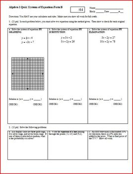 Algebra 1 Quiz: Systems of Equations; 2 versions; 2 pages each (Editable)