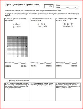 Algebra 1 Quiz: Systems of Equations; 2 versions; 2 pages each