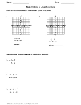 Algebra 1 Quiz: Systems of Linear Equations