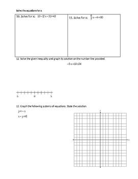 Algebra 1 Quiz with Review
