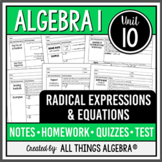 Radical Expressions and Equations (Algebra 1 Curriculum - Unit 11)