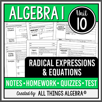 Radical Expressions and Equations (Algebra 1)