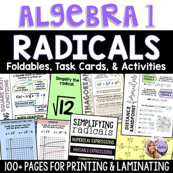 Algebra 1 Radical Expressions, Equations, and Functions BUNDLE