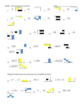 Algebra 1 Radicals Day 1 puzzle shade worksheet, activity, fun
