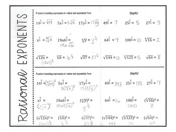 Algebra 1 - Writing, Simplifying, and Solving with Rational Exponents - Foldable