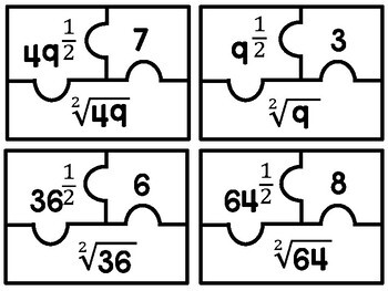 Algebra 1 - Rational Exponents Puzzle Task Cards - Set of 20 with Answer Key