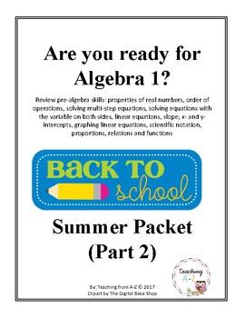 Algebra 1 Readiness B2S Packet PART 2